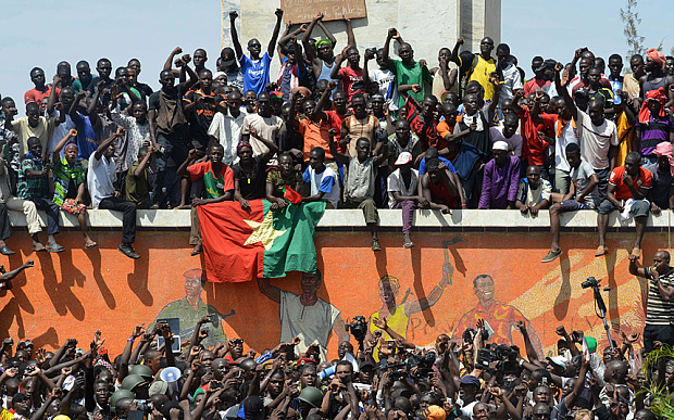 Burkinese celebrate after embattled Pres